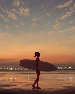 Фото Девушка с доской для серфинга стоит на побережье, by GUWEIZ