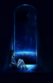Фото Мальчик сидит на подоконнике окна и смотрит на ночное небо, by Drawing My Soul