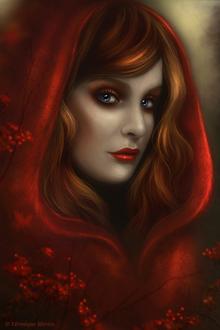 Фото Голубоглазая красавица в красной шали (Vernique Morice)