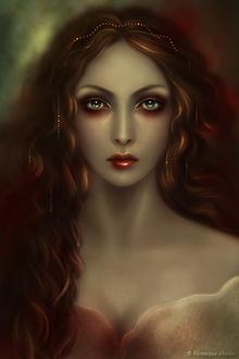 Фото Грустная девушка с украшением в волосах (Veronique Morice)