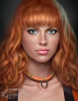 Фото Красивая рыжеволосая девушка с украшением.(COMMISSION SARA BIDDLE)