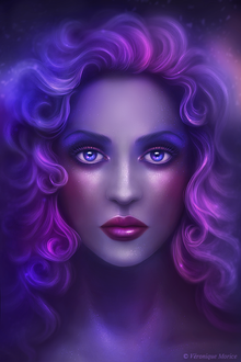 Фото Красивая грустная девушка с голубыми глазами и сиреневыми волосами (Veronique Morice)