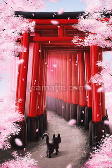 Фото Черный котенок идет по коридору из тории, окруженными деревьями цветущей сакуры, by leamatte