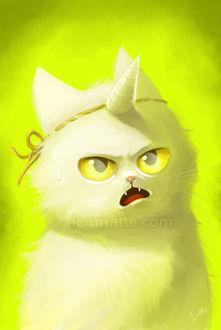 Фото Недовольный белый котенок, с привязанным к мордочке рогом, by leamatte