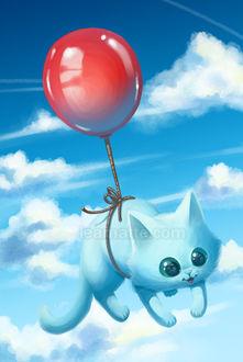 Фото Белый котенок, привязанный к красному воздушному шарику, летит по небу, by leamatte