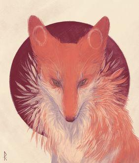 Фото Нарисованная рыжая лиса, by mellinae
