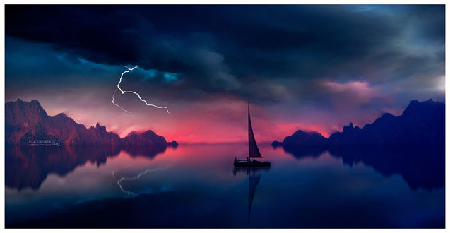 Фото Парусник на воде на фоне грозового неба, by Ellysiumn Art
