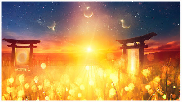 Фото Ворота Тории в солнечном свете, Ellysiumn Art