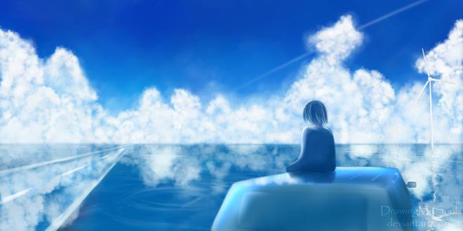 Фото Девочка сидит на фоне облачного неба, by DrawingMySoul