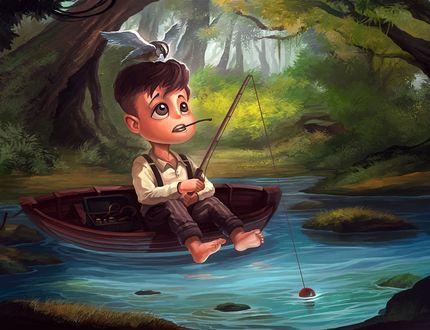 Фото Мальчуган на лодке подражает папе - рыбаку