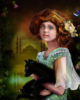Фото Милая голубоглазая девочка с черным котом на руках с цветами в волосах, by Rozerika
