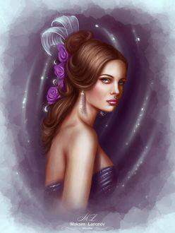 Фото Красивая грустная девушка с розами в волосах и сережках.(Максим Ларионов)