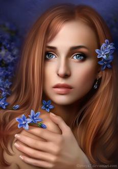 Фото Грустная девушка с голубыми глазами с цветами в волосах, by Ennya