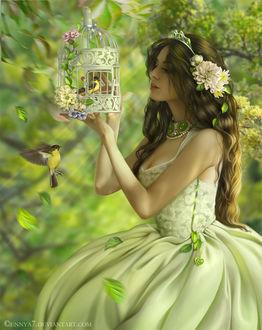 Фото Сказочно красивая девушка с цветами в волосах любуется птичкой в клетке, bu Ennya