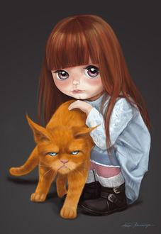 Фото Маленькая девочка сидит рядом с рыжим котом, by Ksenia Polovchenya