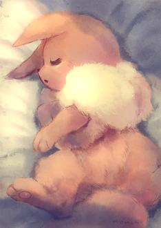 Фото Eevee / Иви из аниме Покемон / Pokemon сладко спит, by manino