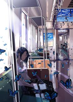 Фото Девушка дремлет в вагоне поезда среди синих бабочек
