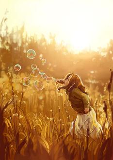 Фото Девочка пускает мыльные пузыри стоя в поле, by Pigsney