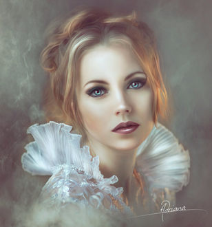 Фото Красивая голубоглазая девушка с грустным выражением лица. By Retrato