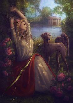 Фото Спящая красавица на фоне роз с собаками. By Diana ar