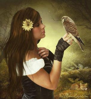 Фото Девушка с цветком в волосах и птицей на руке, by VladNoxArt
