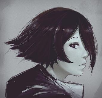 Фото Темноволосая девушка в профиль, by Kyokazu