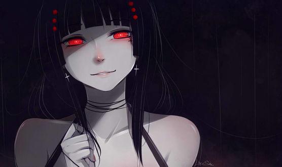 Фото Темноволосая девушка с алыми глазами, by Likesac