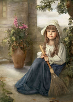 Фото Милая девочка с метелкой в руках сидит под деревом возле дома на фоне цветов, by Lotta-Lotos