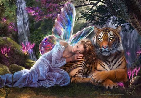 Фото Девушка с крыльями дремлет рядом с тигром, by Drazenka Kimpel