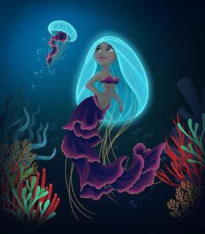 Фото Девушка - медуза на дне моря