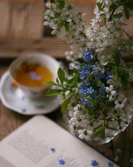Фото Чашка чая на блюдце и весенние цветы в вазе, by JustFoto