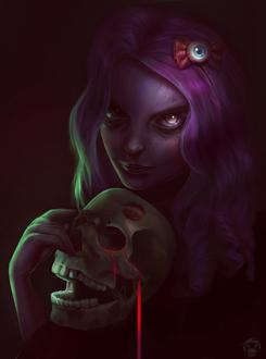 Фото Девушка держит в руках череп со следом от поцелуя, by Arasteia