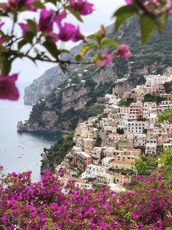 Фото Вид на Позитано с цветами рододендрона, побережье Амальфи, Италия
