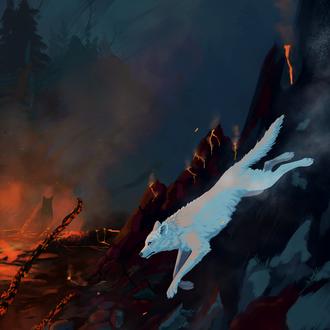 Фото Белый волк среди горящей природы, by Wolflich