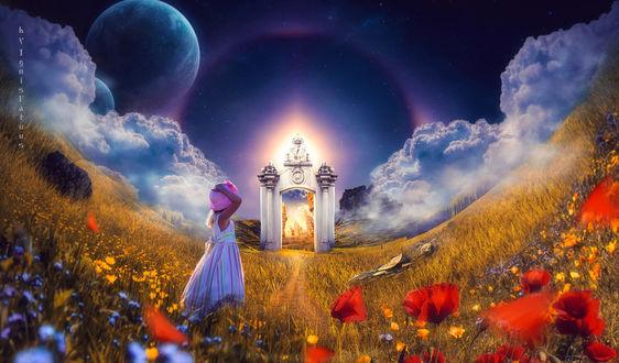 Фото Работа The path to another world / путь в другой мир, девочка стоит на поле с маками и васильками, by IgnisFatuusII