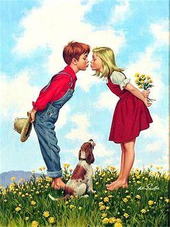 Фото Мальчик и девочка, в руках которой букетик одуванчиков, а у мальчика - шляпа, хотят поцеловаться, между ними сидит пес и смотрит на них, американский художник-иллюстратор Arthur Sarnoff / Артур Сарнофф