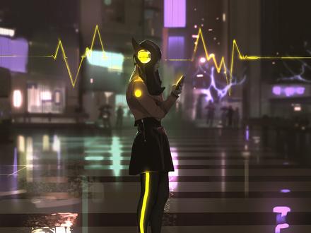 Фото Девушка в наушниках с телефоном в руке стоит на вечерней улице города, by snatty