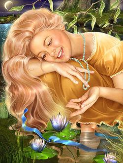 Фото Девушка сидит на берегу реки и любуется цветами на фоне звездного неба и луны. Инна Кузубова