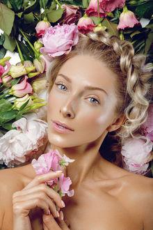 Фото Девушка с пионами и розами у волос, by Svetlana -Svetography- Mandrikova