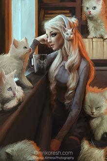 Фото Девушка в наушниках в окружении кошек, by OmriKoresh