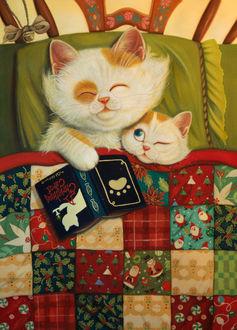 Фото Кошка с книгой в лапке и котенок под лоскутным одеялом, by phoenix7472