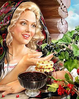 Фото Красивая белокурая девушка, с улыбкой на губах, сидит за столом на фоне смородины. Художница Инна Кузубова