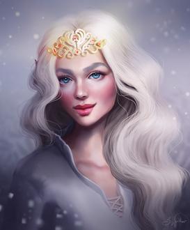 Фото Белокурая девушка с голубыми глазами, с украшением на голове, by SandraWinther