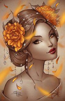 Фото Девушка с цветами в волосах украшенная жемчугом с яркой помадой на губах. by Sabinerich