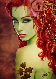 Фото Красивая грустная девушка с ярко красными волосами с розой и тату в виде листьев на плече. by cha-illustration