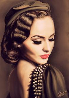 Фото Гламурная модель Idda van Munster в берете, с опущенными глазам и яркой помадой на губах, с украшением в виде шипов
