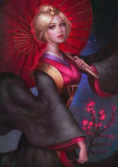 Фото Девушка - блондинка с красным зонтом стоит на фоне звездного неба и цветущей сакуры, by serafleur