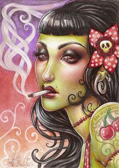 Фото Гламурная девушка с цветком в волосах с черепом, с сигаретой во рту, с тату на плече и шее в виде шва, by Medusa-Dollmaker