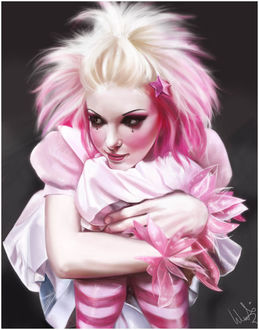 Фото Девушка со слезами на глазах, с розовыми волосами, со звездочкой и бантиками на руках, by acidlullaby
