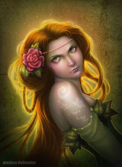 Фото Грустная рыжеволосая девушка с цветком в волосах и бусами на лбу, с тату на плече, by Medusa-Dollmaker